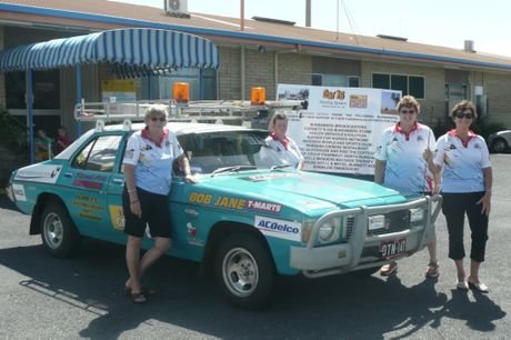 Dancing Queens Auriel Robinson, Anne-Maree Daly, Vicki Smyth and Glenda Kerr with their Variety Bash car.