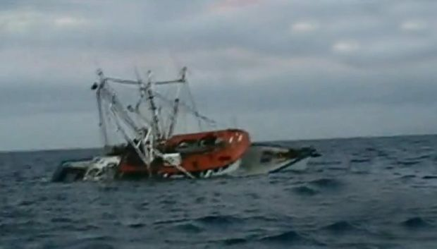 The trawler that capsized on the Capricorn Coast