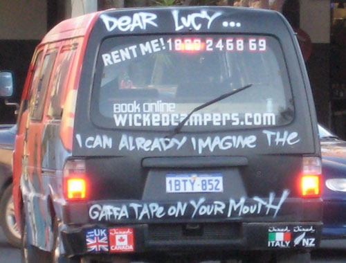 A photo of a Wicked van painted to intimidate for Byron Bay journalist Lucy Clark.