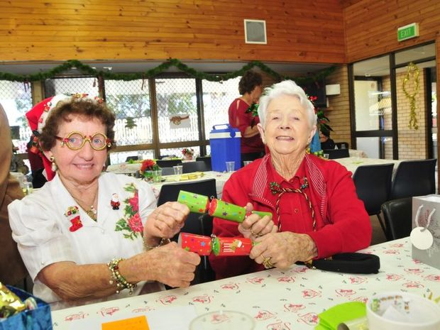 Judy Finlay and Peg Butler at the Gladstone Central Committee for the Aging's Christmas in July.