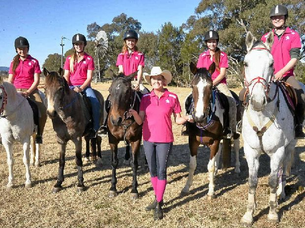 QUEENSLAND open mounted games team members (from left) Yasmin Heather (Gold Coast), Bonnie Morris (Kilcoy), Dakota Brown (North Brisbane), coach Wendy Morrish (Warwick), Mel Kuhnert (Highfields) and Amy Bradfield (Warwick) at state training at the Warwick Showgrounds.