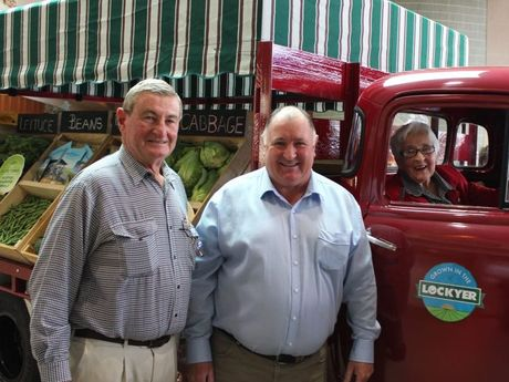 Malcolm Searle, Lockyer Valley Regional Council Mayor Steve Jones and Bobby Connelly unveil the new fruiterer truck in the Lockyer Valley.