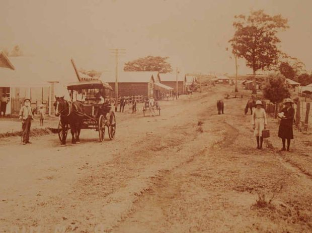 PLENTY OF CHANGES: Buderim's Main St in about 1916. One of the last blocks of land in the town centre is for sale.