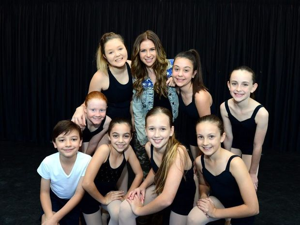Katrina Kat Risteska is teaching hip-hop classes at Michael Robertson's Studio of Dance and Musical Theatre, pictured with students (back) Marnie Hungerford, Lily Fokas, Matariki Kibblewhite-Claus (front) Jeremy Fokas, Lucy McCartney, Madison Bailey, Georgiana Russell and Ella Kibblewhite-Claus. Photo Sharyn O'Neill / The Morning Bulletin