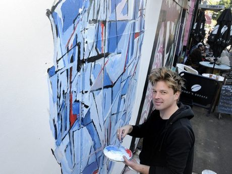 Artist at Ground Up: Jon Weber works on new piece. Photo: Bev Lacey / The Chronicle