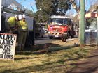 A light pole was snapped at the base after a truck crashed into it on Hume St in the Toowoomba CBD.