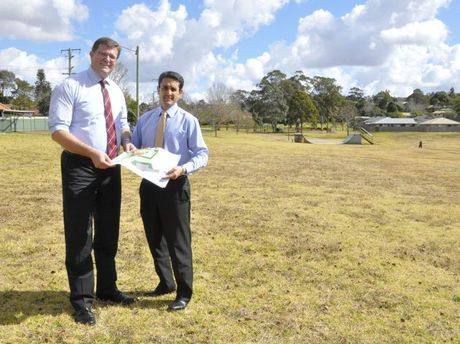 Member for Toowoomba North Trevor Watts (left) and Local Government Minister David Crisafulli say upgrades to Wilsonton Heights Park will be finished this financial year.