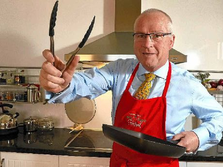 MASTERCHEF: Mayor Mark Jamieson brushes up on his cooking skills ahead of the fundraiser for Twinnies Seabird Rescue.