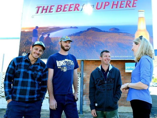 Stars of the new Great Northern billboards are Beau Hamson, Nigel Kirby and Bruce Dives pictured with CEO of Capricorn Enterprise Mary Carroll. Photo Sharyn O'Neill / The Morning Bulletin