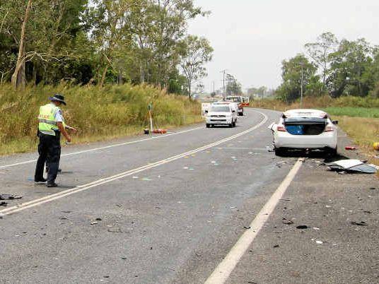 The scene of the Bruce Hwy crash near Pindi Pindi.