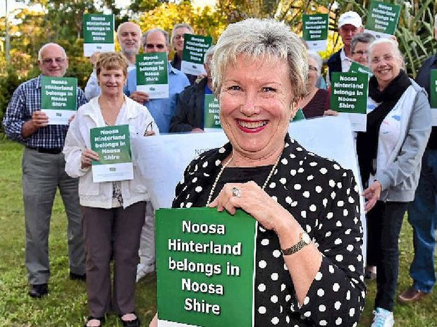 STILL FIGHTING: Johanne Wright leads a protest against Sunshine Coast Council's decision to stop Eumundi, Doonan, Verrierdale and Weyba Downs residents from joining Noosa Shire.