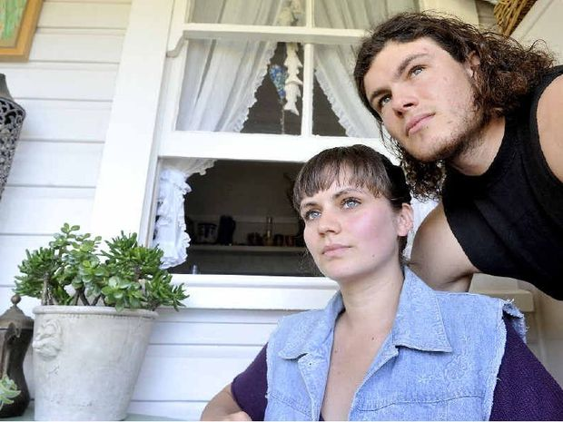 CLOSE CALL: Jordan Martin, 22, and Laura McMillan, 19, of Lismore, are still in shock after they were involved in a car accident on their way to Splendour in the Grass. The illegal taxi they were travelling in crashed on the Pacific Highway.