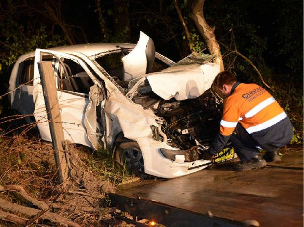 FATALITY: The Hyundai Getz in which Terranora man Peter Tawton died in a single vehicle crash off Widgee Crossing Rd, on Monday.