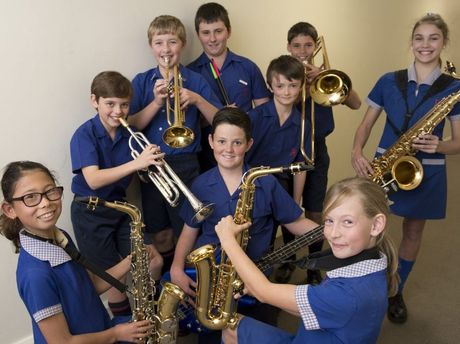 Rangeville State School stage band members Erika Sneath, Bryce Callaghan, Kyran Cook, Laurent Bechteler-Weickhardt, Jacob Byrne, Harry Young, Jeremy Kinney, Lucy Silvonen-Annetts and Taleah McGrane at the 70th City of Toowoomba Eisteddfod.