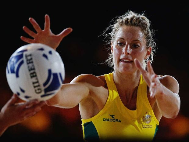 Allora netballer Laura Geitz passes the ball out during the Preliminary Round Group B match between Australia and Wales at SECC Precinct during the Glasgow 2014 Commonwealth Games last week.