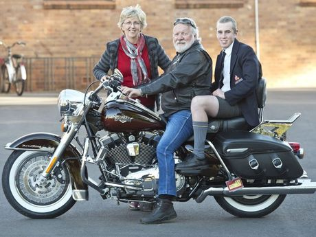 Set for the 2014 Cruise for Cancer is Geoff Schmidt of the local Harley Owner's Group (front) and event ambassador Billy Whittle.