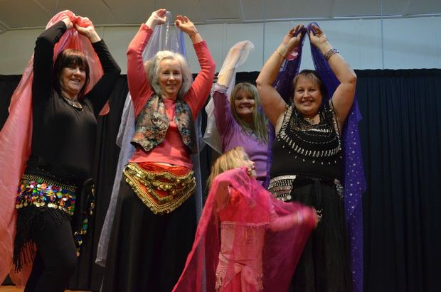 BELLY DANCERS: Judi Chatwood, Karen Keogh, Willo Riley and Gina and Kyesha Graham enjoying belly dancing classes in Blackbutt. Photo Keagan Elder / South Burnett Times