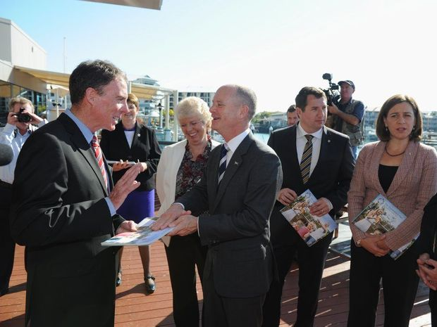 Fraser Coast Mayor Gerard O'Connell talks with Premier Campbell Newman after the launch of The Queensland Plan in Hervey Bay.