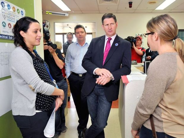 Acting nurse unit manager Alicia Sileni and midwife Sarah Woodward showed Queensland Health Minister Lawrence Springborg around Gladstone Hospital's maternity unit.