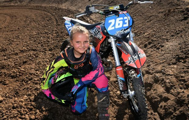GO GIRL: Eight year old Steph Franks will be competing for the 65cc All Girls Queensland title at the Bingera Motor Cross track. Photo: Mike Knott / NewsMail