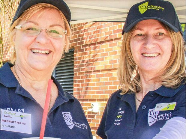 CQUniversity staff offer free slushies at the Open Day at the Gladstone marina.