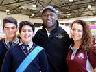 Wendell Sailor with Emmaus College Year 10 students Jordyn Mogg and Tarryn Cora and North Rockhampton High student Kayeden Goltz. Photo Allan Reinikka / The Morning Bulletin