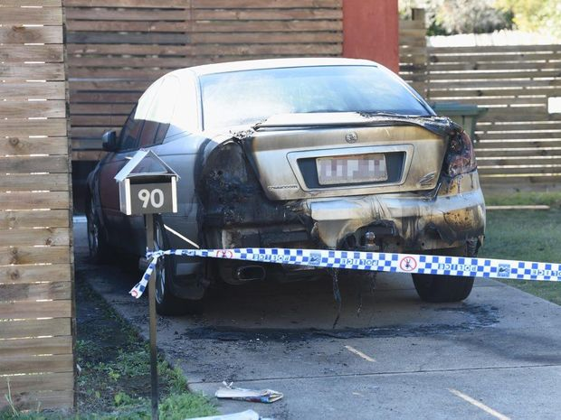 A fire-damaged car is under police investigation in Tooth St at Pialba.