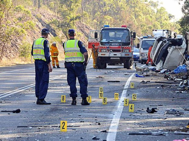 UNDER INVESTIGATION: Fatal crash on the Pacific Highway at Kundabung where two Lismore locals died.