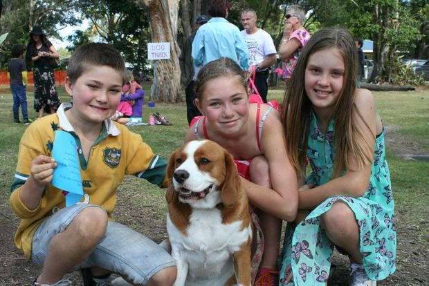 Will Carpenter, 8, Aniela Carpenter, 10, and Teleah Dale, 10, with the Carpenter's Beagle-Cavalier King Charles cross Heidi. Photo: Hamish Broome / The Northern Star