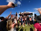 Singer Darren Percival goes up in a cherry picker to take the Sunshine Coast's biggest Selfie at the Imaginarium family festival at USC. Photo: Iain Curry / Sunshine Coast Daily