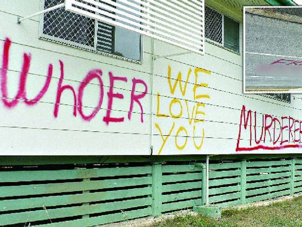 DISGUSTING: Graffiti on a public housing home has outraged Toolooa residents.