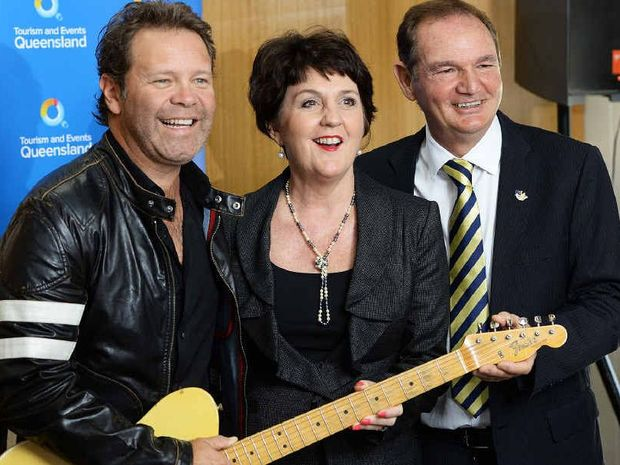 KICKING UP THEIR HEELS: Troy Cassar-Daley (left), Tourism and Major Events Minister Jan Stuckey and Ipswich Mayor Paul Pisasale were delighted yesterday.
