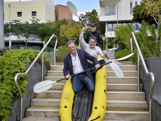 LAUNCH DATE: Mayor Paul Pisasale, Cr David Morrison and Simon Lazenby from In2Adventure.