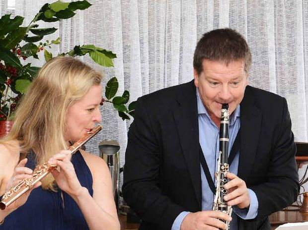 COFFEE CONCERT: Emma Sholl, flautist and Paul Dean, clarinettist at Zentveld' Coffee Roastery in Newrybar held their first ever Coffee Concert, during the 2014 Bangalow Music Festival.