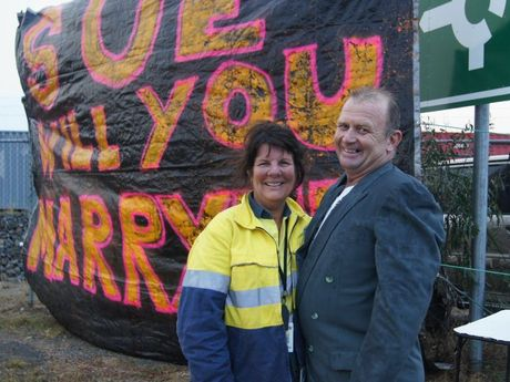 Sue Butler received a surprise proposal on Friday night at Port Central from her partner Bill Grundon - and she said yes.