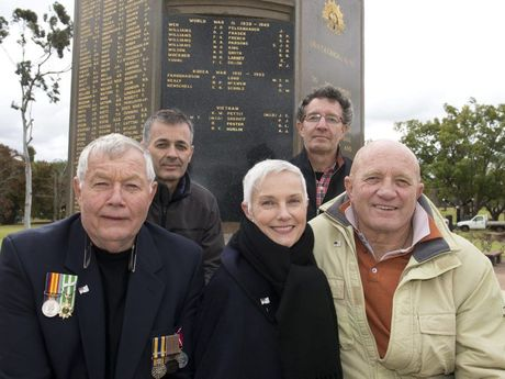 AJ (Tony) Huelin's sister Jann McLennan nee Huelin and brothers (from left) John, Michael, Richard and Phillip Huelin are thrilled that their brothers name has been added to the Mothers' Memorial with other Vietnam veterans.