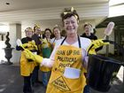 Political cleaning ladies protest 'dirty' mining deals