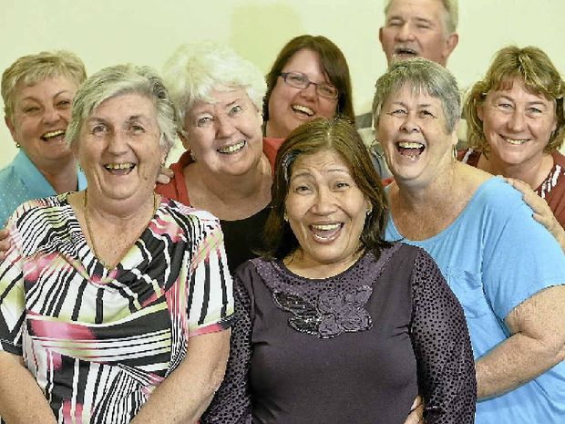 HA, HA: Patrice McFarlen, Noreen Dunne, Miriam Ogden, Mary-Anne Smith, Pauleen Walker, Colleen McDonald, Sue-Ellen Pashley and Steve Ross believe laughter is the best medicine.