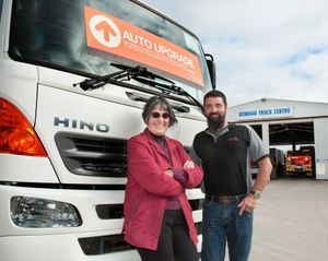 Bendigo Truck Centre owner Dianne Elliott and Dealer Principal Euan McGowan. Photo Contributed