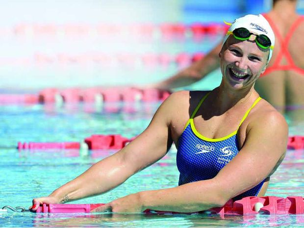 Melanie Schlanger seems not to have a care in the world during a training session at the Gold Coast Aquatic Centre.