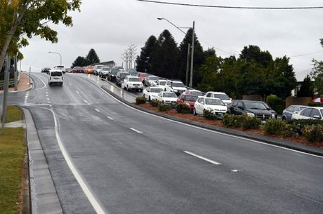 Cars queue coming out of the Caboolture CBD after car crash on Lower King St, Caboolture on 22/08/2014. Photo Jorge Branco / Caboolture News