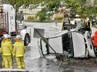 Teenage driver escapes injury after car flips on street