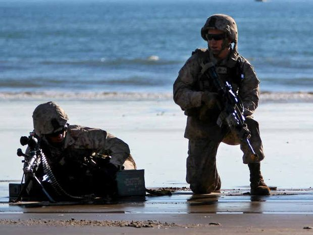 REGIONAL BOOST: The 31st MEU land at Shoalwater Bay. Premier Campbell Newman wants the Australian Defence Force to set up a permanent base in our region.