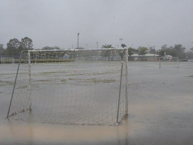 The soccer fields in Torquay were inundated on Saturday afternoon.