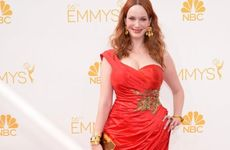 Christina Hendricks arrives at the 66th Primetime Emmy Awards at the Nokia Theatre in Los Angeles.