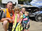 Oakey couple Wes Whitbread and Melissa Ambrose and their children (from left) Dakota and Aston Whitbread walked away from a head-on crash on the Warrego Hwy near Oakey. Photo: Stuart Cumming / The Chronicle
