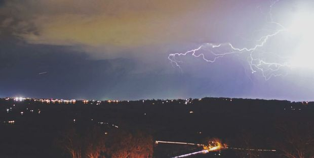 Locky Nicolson's photo of lightning over Toowoomba.