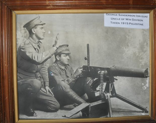 For the Call to Arms commemoration, the Davson family of Gatton loaned this vintage photograph to the Pioneer Village of the late Win Davson's uncle George Sanderson at a machine gun in Palestine in 1915.