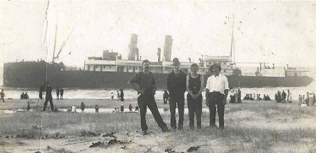 "SHIPWRECK: A rare photo of the wrecked steam ship Wollongbar - these days just known as ""the wreck"" - is one of the photos from the EJ Wright Collection to go on show."