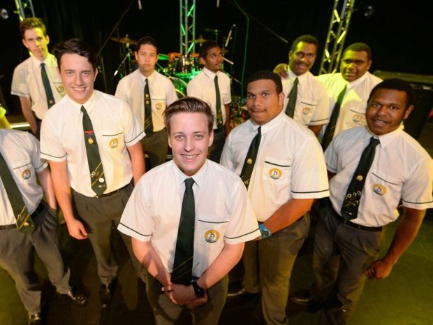 St Brendans students front centre, Joe Collins, front L-R Jeremy Titmarsh, Tave Buck, Bradley Kris, Elijah Daw, rear L-R Mitch Hart, Ben Fry, Logan Healy, ALfred Johnson, Dosia Warria and Jarrod Mabo will be playing in two seperate bands in a battle of the bands contest on Friday night. Photo: Chris Ison / The Morning Bulletin